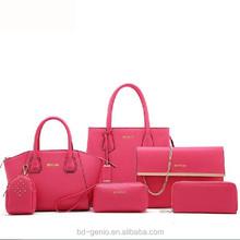 pu bag---6pcs in 1 set style,2015 new arrive ladies handbag,fashion ladies handbag