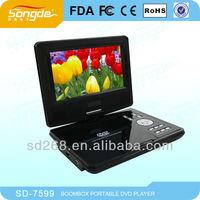 7.5'' mini dvd player+game+av+tv+usb+rotation+rechargeable battery