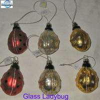 gold glass ladybug ornaments from China manufactory