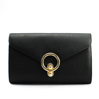 Handcee New Metal Circle Buckle black pu Shoulder Bags for lady