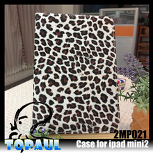 fashion sexy Leopard case , Flip Leather Tablet Protective Cover Case For Ipad Mini 1/2