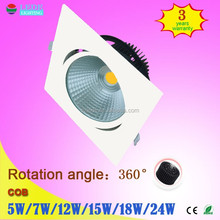 High power factor high quality 7w square cob led downlighting dimmable