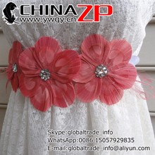 High quality plume crafts wholesale cheap Coral and Pink Peacock Feather Flower Bridal Wedding Sash with Pink Veil and Crystals
