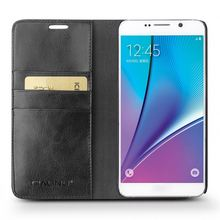 QIALINO Supreme Quality Leather Phone Cell Five Case For Galaxy Avant Note 5