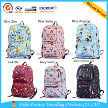 New Promotional Waterproof Printed Girl Canvas backpack laptop computer