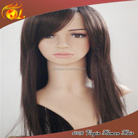 Top Quality Best Sell 24'' Silky Straight Natural Color Brazilian Hair Full Lace Wigs With Side Bangs
