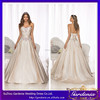 2015 High Quality Elegant Sweetheart Neckline Pleats Beaded Zipper A-line Court Train Champagne Wedding Gown with Crystals