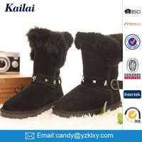 wholesale fashion and fine design cheap warm studded faux suede women snow boots shoes