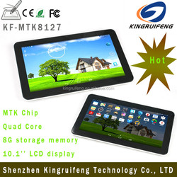 cheap wireless and GPS built-in 10.1 inch quad core MTK8127 Andriod 4.4.2 dual webcam tablet PC