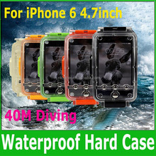 2015 New Arrivals High Quality 40m Diving Water Depth Waterproof Hard Case Underwater Housing Cover for iPhone 6- 4.7