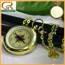 LA032 fashion open face four hands with chain gold faux compass pocket watch