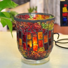 Red Mosaic Glass With Flameless led Candle With Timer Work Newest