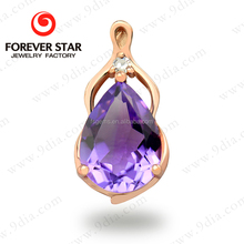 Alibaba Express Jewelry 8*6mm Pear Shape Natural Amethyst One Gram 21k Gold Jewellery
