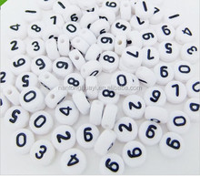 Wholesale 7x4mm White Flat Round Plastic Acrylic Number Beads for Jewelry Making