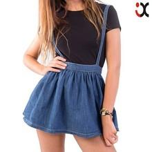 fashion ladies crosshatch denim jeans short women skirt with braces JXQ820