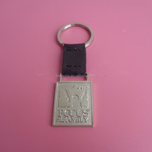 Matt silver metal key chain with leather hanger, 3D metal leather key ring