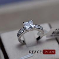 Yiwu prong setting ring wholesale zircon ring platinum plated