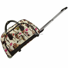 Cute Girls Travel Vintage Leather Duffel Bag with Trolley