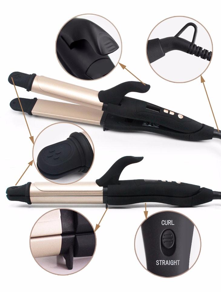 2017 new design saudi arabia market hair straightener & hair curler 2 in 1 for woman use