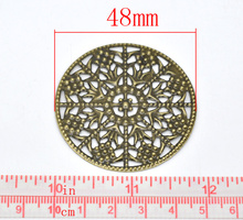 Antique Bronze Filigree Round Wraps Connectors 48mm, sold per pack of 30,Jewelry