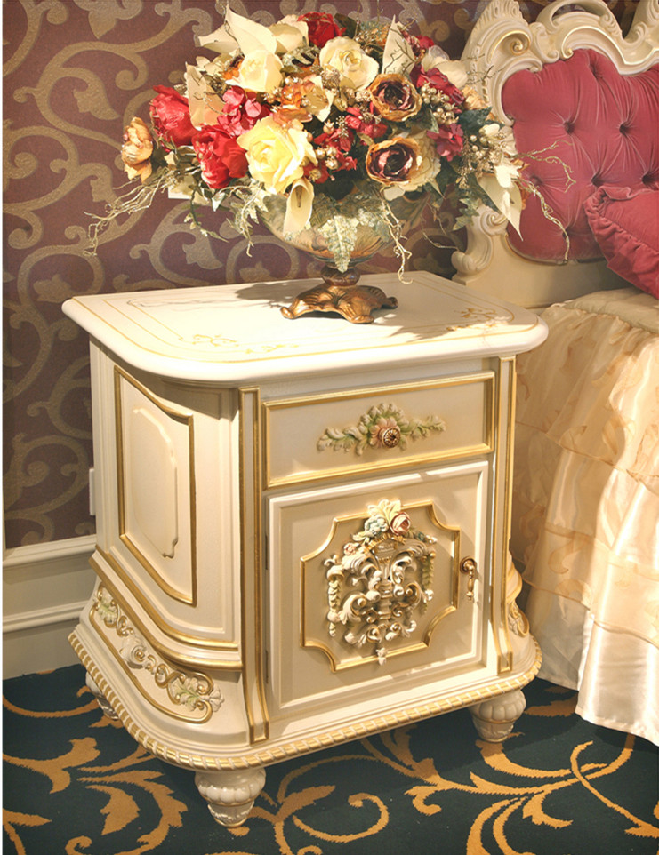 Luxury French Rococo Bedroom Furniture Dresser Table Mirror - Rococo side table