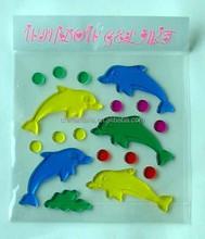 bathroom/bedroom/livingroom decor cute dolphin 3D wall sticker/gel sticker/window sticker