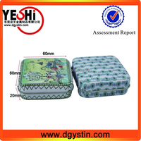 High quality square tin box with mirrow for Ladies