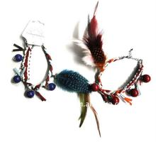 Popular hand weave and real feather braclet