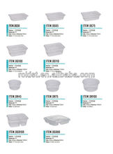 Disposable divided plastic food container box rectangle 650ml take away