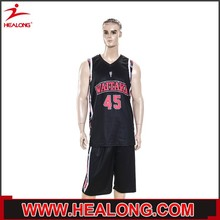 low price sample european style best basketball uniform design color black