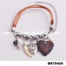 Ювелирные изделия нескольких нитей кожаный браслет оптовая продажа плетеный кожаный браслет