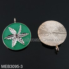 20mm Europe hot sale have stock mix color pendant jewelry charm with leaf