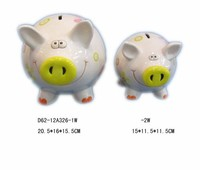 Big antique ceramic kids pig coin bank with lock