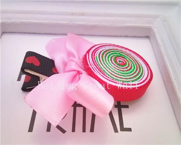 Новые девушки печать лента леденцы дети аксессуары девушки с бантом красочные аксессуары украшения для волос зажим для волос