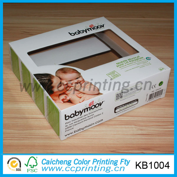 Baby toy paper packaging box with PVC window for promotion