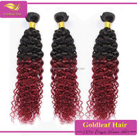 Fashion new type Brazilian deep curly ombre hair weave red human hair weaving