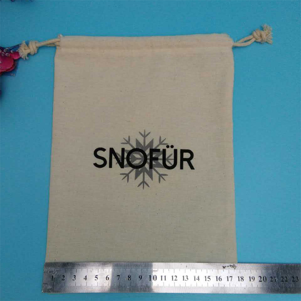 Hot sale drawstring closure muslin calico સુતરાઉ બેકપેક બેગ with logo printed