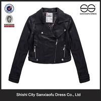 Newest Short Ladies Fancy Jacket, Black Leather Jacket, Jaket Kulit Wanita