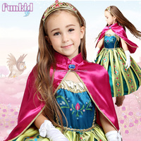 2015 new frozen fever dress elsa anna flower print costume for kids halloween party