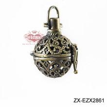 Antiqued Brass Teadrop Flower Plant Blossom Hollow Locket Wish Box Pendant