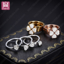 fashion 2014 adjustable rhinestone lucky clover ring