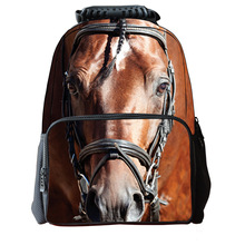 2015 New Fashion 3D Printed Animal Face Backpack Horse Outdoor Travel Bag Children Hight School bags Wholesale Hight Quality