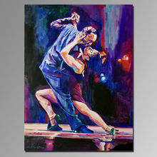 Handmade tango dancing oil painting on canvas for wall decoration,man and woman dancers