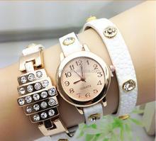 Lady Fashion Luxury Watch 8 Color Leather Quartz Watch Diamond Wristwatches Ladies Dress Watch