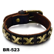 The Roman Numbers design cow Leather mens Bracelet Bangle