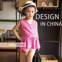 COOL KID ZONE 2016 summer children girl print chiffon short sleeveless dresses design in china brand girl dress