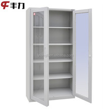 Light grey knocked down swing and sliding glass door photo storage cabinet