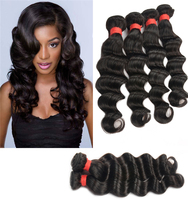 Nature Color Large in Stock 100% Unprocessed Brazilian Ombre Loose Deep Wave Hair Weave