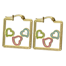 Bridal New Elegant Gold Plated Stainless Steel Square Huggie Earrings with Hollow Heart Jewelry