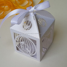 White Bird cage Laser Cut pearl paper wedding candy box chocolate favour box baby shower gift box christmas new born gift